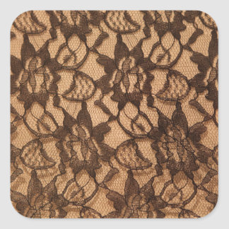 Black Lace on Taupe Square Sticker