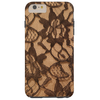Black Lace on Taupe Tough iPhone 6 Plus Case