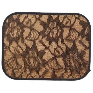 Black Lace on Taupe Floor Mat