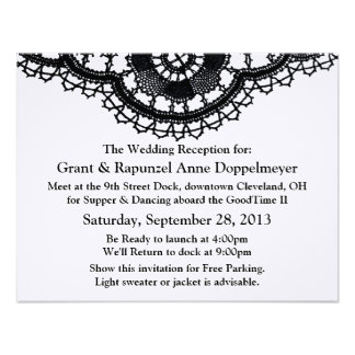 Black Lace on White (Post-Wedding Reception) Invitations