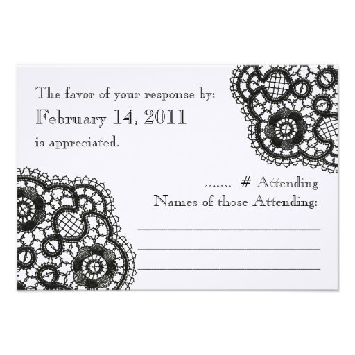 Black Lace on White (Wedding Reply Cards) Custom Invite