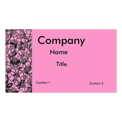 Black lace over pink feminine business card zazzle for Feminine business cards