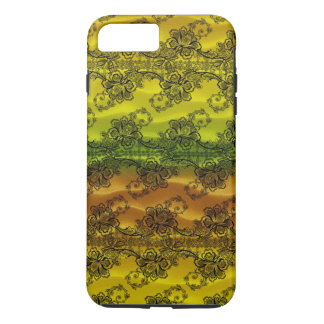 Black Lace over Waves of Yellow and Orange iPhone 8 Plus/7 Plus Case