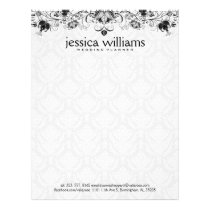 Black Lace Over White Damasks Background Letterhead