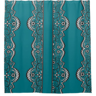 black lace panel teal elegant shower curtain