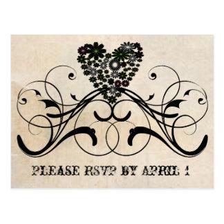 Black Lace Parchment RSVP Postcard