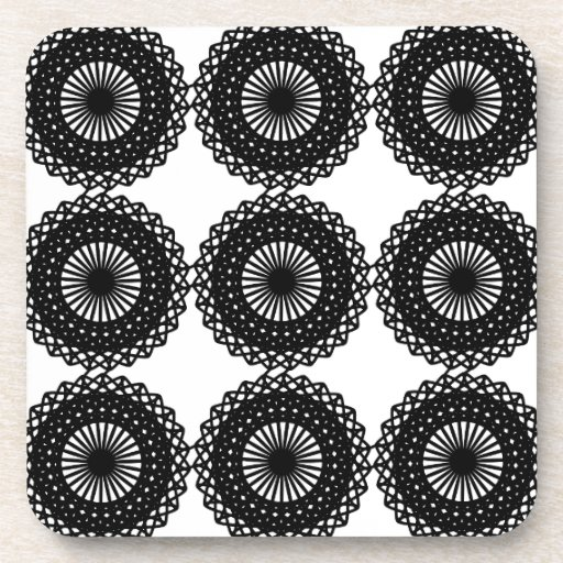 Black Lace Pattern Design. Custom Drink Coasters