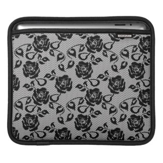 Black lace pattern on white background sleeve for iPads