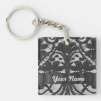 Black lace personalized keychain