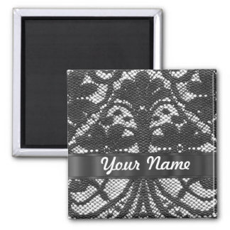Black lace personalized magnet