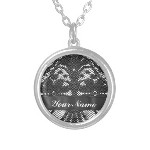 Black lace personalized necklace