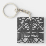 Black lace personalized square acrylic key chain