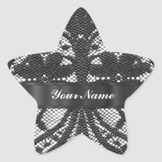 Black lace personalized star sticker