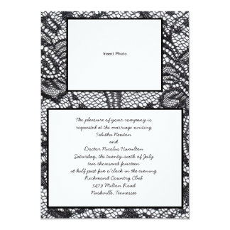 Black Lace Photo Wedding Invitations