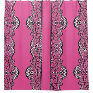 black lace pink cerise elegant shower curtain