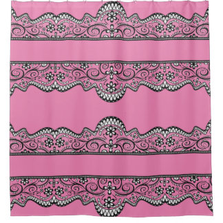 black lace pink pretty and elegant shower curtain