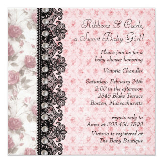 Black Lace Pink Rose Baby Girl Shower 5.25x5.25 Square Paper Invitation Card