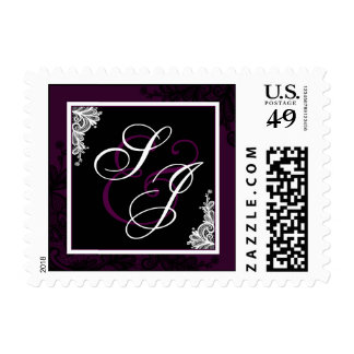 Black Lace Plum Modern Goth Wedding Monogram Postage