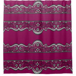 black lace plum purple elegant shower curtain