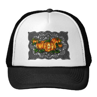 BLACK LACE, PUMPKIN PATCH by SHARON SHARPE Trucker Hats