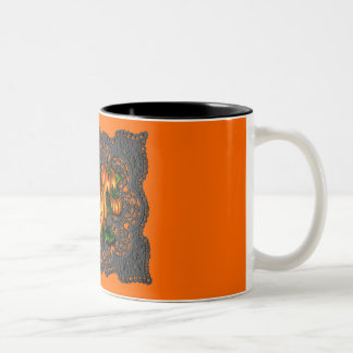 BLACK LACE, PUMPKIN PATCH by SHARON SHARPE Two-Tone Coffee Mug