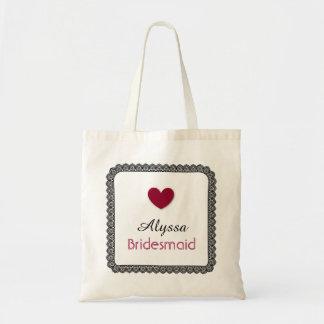 Black Lace Red Heart Bridesmaid Wedding Bag V02