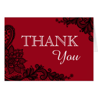 Black Lace Red Modern Goth Thank You Card