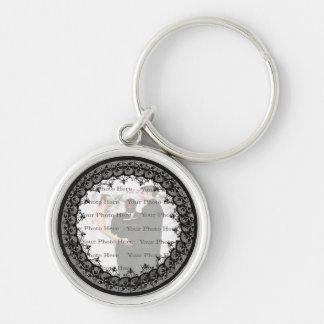 Black Lace Round Silver Keychain