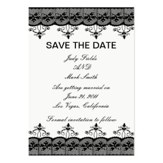 Black Lace Save The Date Card Large Business Cards (Pack Of 100)