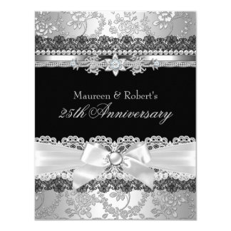 Black Lace & Silver Pearl Bow 25th Anniversary Card