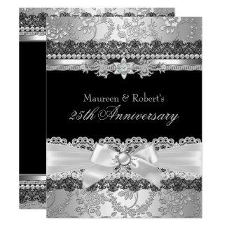 Black Lace & Silver Pearl Bow 25th Anniversary Invitation