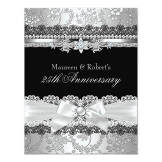 Black Lace & Silver Pearl Bow 25th Anniversary Invite