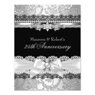 Black Lace & Silver Pearl Bow 25th Anniversary 4.25x5.5 Paper Invitation Card