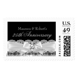 Black Lace & Silver Pearl Bow Anniversary Stamp