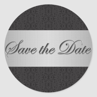 Black Lace & Silver Save the Date Sticker/Seal Classic Round Sticker