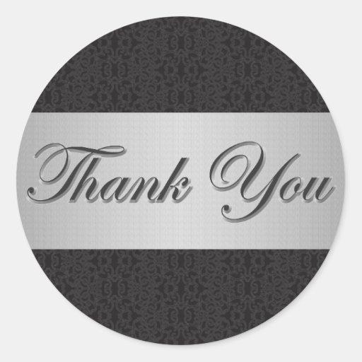 Black Lace & Silver Thank You Sticker/Seal