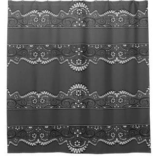 black lace slate grey elegant shower curtain