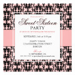 Black Lace Sweet 16 Birthday Party Custom Invitation