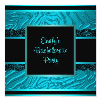 "Black Lace Teal Zebra Bachelorette Party 5.25"" Square Invitation Card"