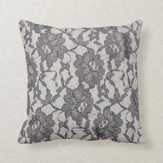 Black Lace Throw Pilow Throw Pillow