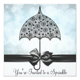 Black Lace Umbrella Blue Baby Sprinkle Baby Shower 5.25x5.25 Square Paper Invitation Card