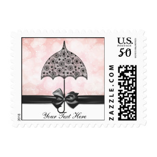 Black Lace Umbrella Pink Baby Shower Postage