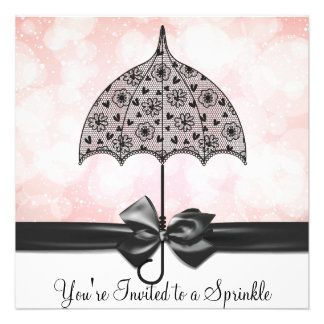 Black Lace Umbrella Pink Baby Sprinkle Baby Shower Custom Invites