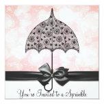 Black Lace Umbrella Pink Baby Sprinkle Baby Shower Custom Invites