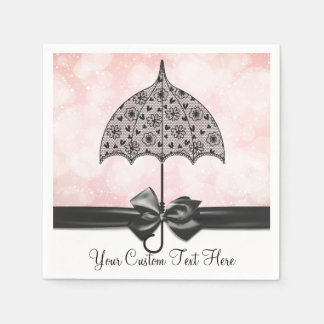 Black Lace Umbrella Pink Shower Napkins