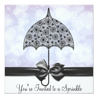 Black Lace Umbrella Purple Baby Sprinkle   Shower Card
