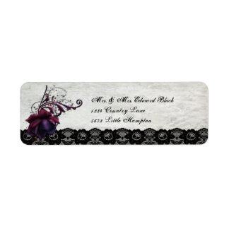 Black Lace Wedding Custom Return Address Labels