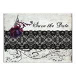 Black Lace Wedding Save the Date Personalized Invitations
