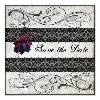 Black Lace Wedding Save the Date Custom Invitation