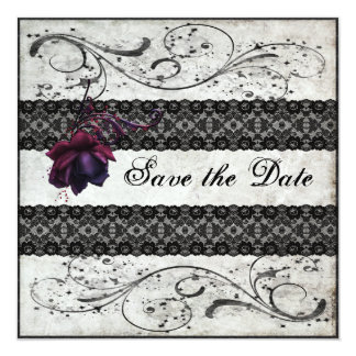 Black Lace Wedding Save the Date Custom Invitation